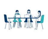 people group women sitting working together with laptops vector illustration green and blue design - 197254735