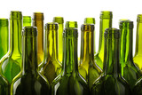 Empty green glass wine bottles isolated on white - 197256505