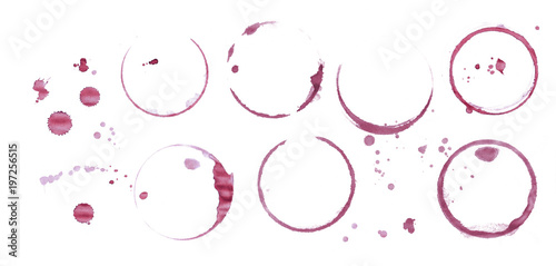Red wine stain rings isolated on white background - 197256515