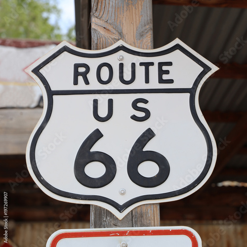 Historic Route 66 Signpost in Hackberry. Arizona. USA Poster