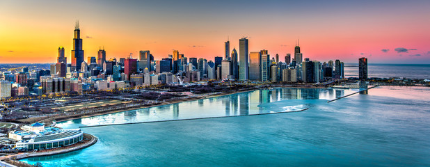 Sunset behind Chicago in the Winter © Anthony