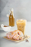Lavender caramel donuts with coffee - 197272189