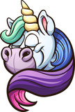 Cartoon unicorn with rainbow mane. Vector clip art illustration with simple gradients. All in a single layer.  - 197274929