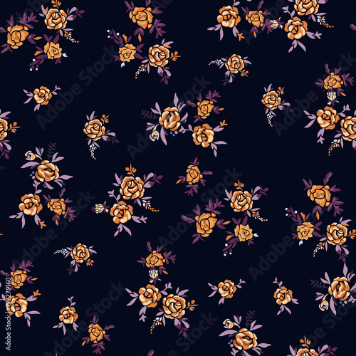 Floral seamless pattern with flowers. Vector motifs with rose for fabric print and embroidery. - 197279160