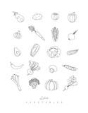 Pen line vegetables icons - 197286581
