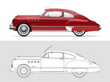 Vector illustration of Buick Roadmaster 1949. Classic oldtimer car.