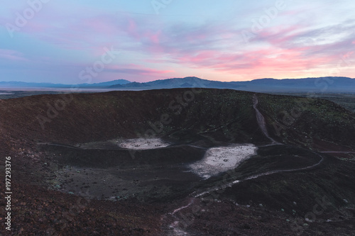 Foto op Aluminium Grijze traf. Sunset Viewed from the Edge of the Crater