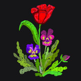 Floral Emroidery design. Tulip, Pansies. Vector illustration