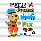 bear mechanic cartoon vector