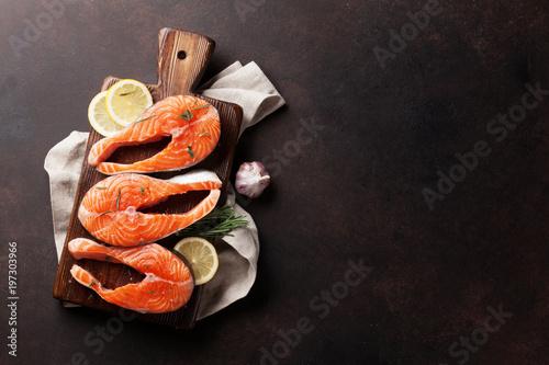 Sticker Raw salmon fish steaks