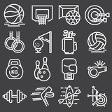 Sports set icons. Flat vector illustration