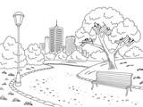 Park graphic black white bench lamp landscape sketch illustration vector - 197306959