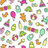 Baby. Newborn. Cute seamless pattern in doodle and cartoon style. Colorful. Vector. EPS 8