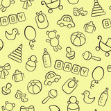 Baby. Newborn. Cute seamless pattern in doodle and cartoon style. Outline. Vector. EPS 8