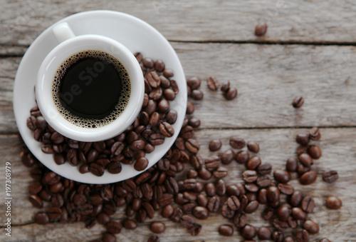 Canvas Koffiebonen tasse de café vue plongeante
