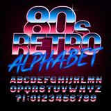 80's retro alphabet font. Metallic effect bright type letters and numbers. Stock vector typeface for any typography design.