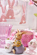 easter table decoration with clay bunny figurine