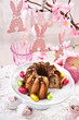 easter festive table with marble ring cake