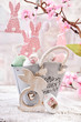 easter table decoration with eggs in vintage style metal basket