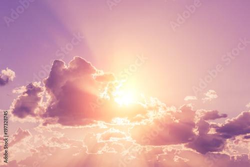 Fotobehang Lichtroze Romantic sunset sky, background
