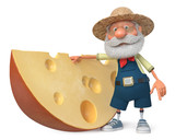 3d illustration farmer with a large piece of cheese - 197330316