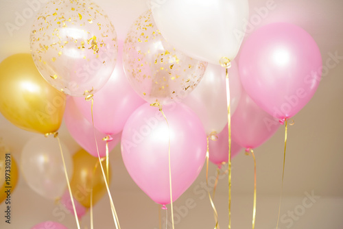 balloons white, pink and gold color