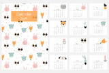 Cute calendar 2019 with animals and flowers. Vector hand drawn illustration. - 197331791