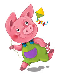 cartoon scene with pig running and playing holding kite - illustration for children