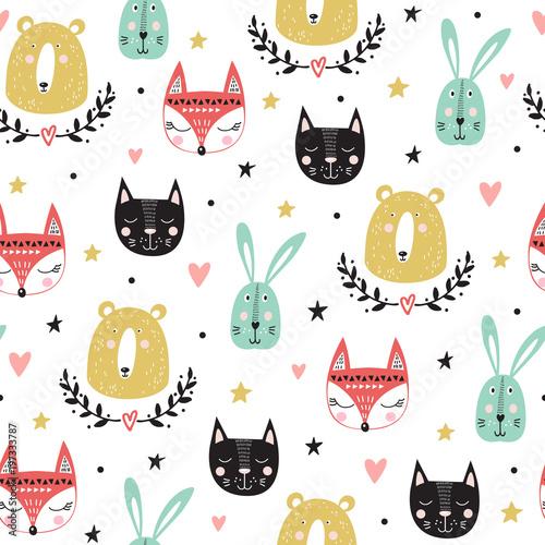 Fototapeta Seamless pattern with cute animals: fox, bear, bunny, cat. Vector illustration.