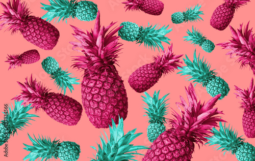Fruit background with pineapple, watermelon - 197334566