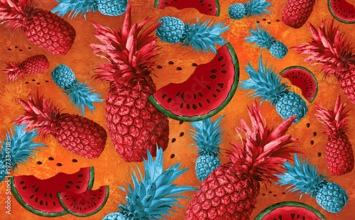 Fruit background with pineapple, watermelon - 197334918
