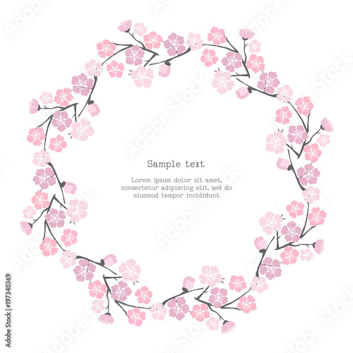 Fototapeta Floral frame with cherry blossom.