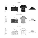 A lamppost with a sign, a T-shirt with an inscription, a radio, a car roof.Advertising,set collection icons in black,monochrome,outline style vector symbol stock illustration web. - 197341747