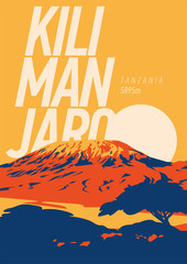Mount Kilimanjaro in Africa, Tanzania outdoor adventure poster. Higest volcano on Earth at sunset illustration. © labitase