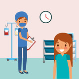 medical people professional in room consultation with iv stand clipboard vector illustration - 197349527
