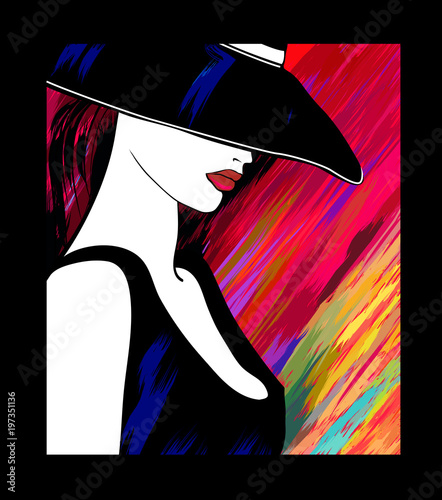 Fotobehang Art Studio Woman with hat on colorful background
