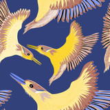 Yellow birds with purple wings seamless pattern. Vector illustration of the yellow birds on blue background