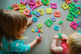 kids playing with puzzle, learning numbers - 197354905