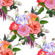 Seamless background with beautiful roses. Design for cloth, wallpaper, gift wrapping. Print for silk, calico and home textiles.Vintage natural pattern - 197355384