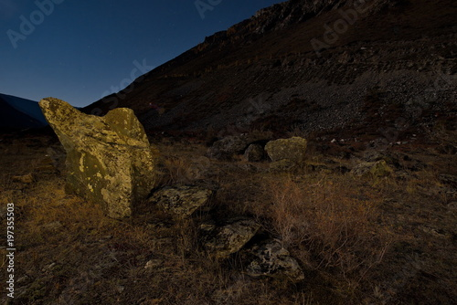Foto op Aluminium Chocoladebruin Russia. Moonlight night in the Altai Mountains