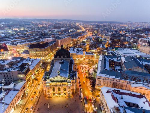Aerial Old City Lviv, Central part of old city. European City. Lviv Opera. Ukraine.