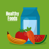 healthy foods lifestyle banana carrot tomato water vector illustration