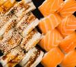 served sushi rolls background