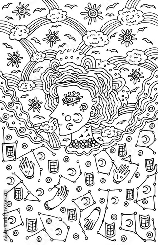Surreal girl goddess of night and day sky. Tribal fairy tale woman art. Coloring page for adults. Doodle vector illustration - 197365772