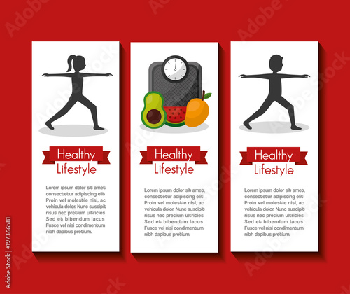 healthy lifestyle people sport activity food fruit diet banners vector illustration - 197366581