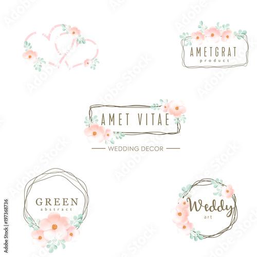 Wedding logo, icons set, floral design, frame and flowers, decoration vector elements