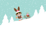 Bunny Sunglasses Sleigh Skiing Downhill Easter Eggs Snow Retro