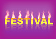 Word Festival with flames on the purple background. Vector illustration.