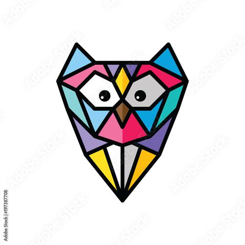Fotobehang Uilen cartoon owl logo logotype colorful theme vector