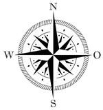 Kompass rose mit deutscher Osten Abkürzung für Marine- oder Seefahrt sowie geographische Karten mit allen wichtigen Windrichtungen auf einem isolierten weißen Hintergrund als Vektor in eps oder ai.